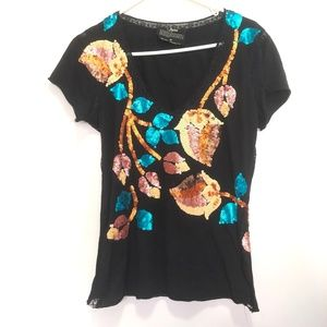 Joystick By Johnny Was Embroidered Sequined V-Neck